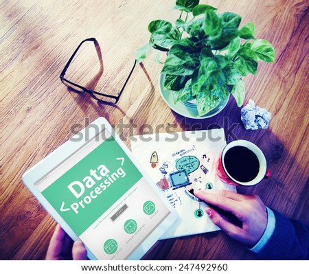 Digital Online Data Processing Technology Office Browsing Concept - stock photo