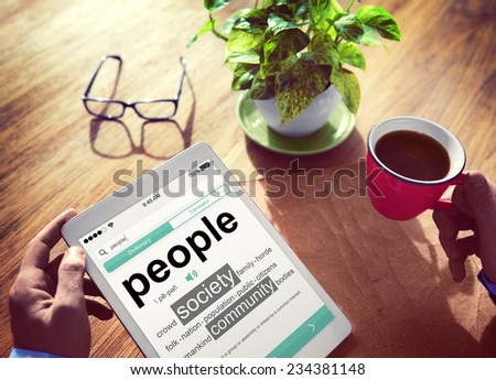 Digital Online Dictionary People Society Office Working Concept - stock photo