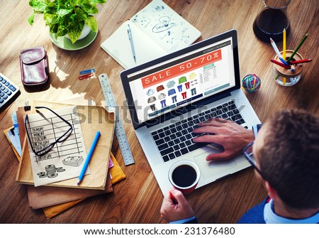 Digital Online Marketing Commerce Sale Concept - stock photo