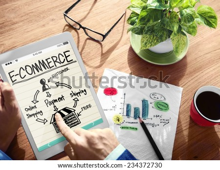 Digital Online Marketing E-Commerce Office Working Concept - stock photo