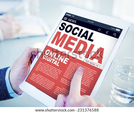 Digital Online Report News Social Media Concept - stock photo