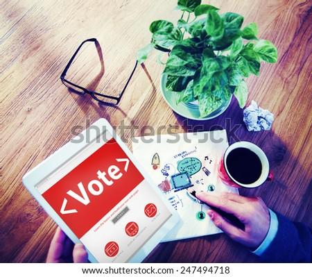 Digital Online Vote Democracy Politcs Election Government Concept - stock photo