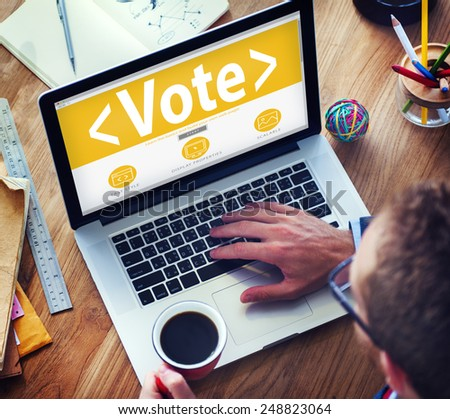 Digital Online Vote Democracy Politics Election Government Concept - stock photo