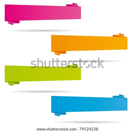 Digital origami banners collection. - stock photo