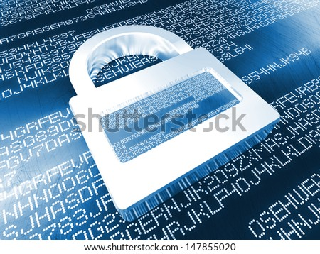 digital padlock on 3d code background