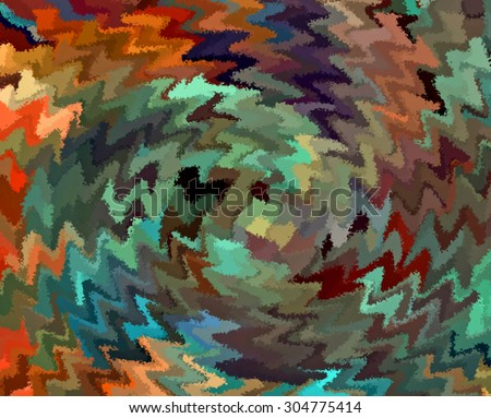 Digital Painting Beautiful Abstract Multi-Color Water Color Paint Chaotic ZigZag Swirl in Rustic Colors Background  - stock photo