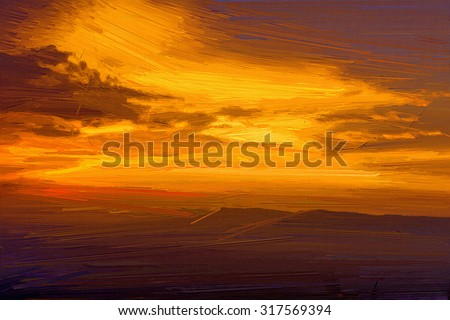 Digital painting colorful style,landscape mountain at sunset. - stock photo