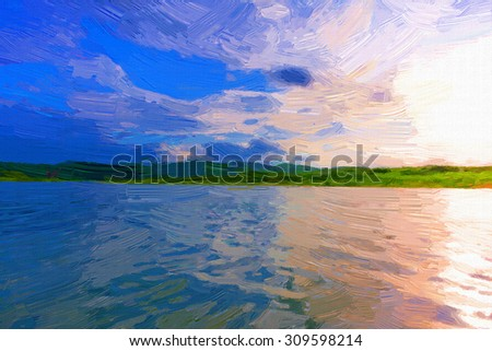Digital painting colorful style,landscape River and mountain at sunset.   - stock photo