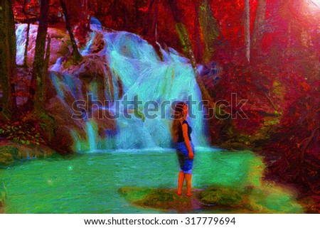 Digital painting colorful style,woman in the waterfall deep rain forest jungle. - stock photo