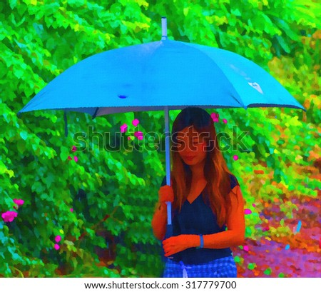 Digital painting colorful style,women open an umbrella in the falling rain. - stock photo