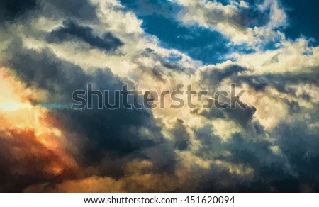 Digital painting illustration art. Divine rays of light through dark clouds. Can be used for wallpaper, canvas print, decoration, banner, t-shirt graphic, advertising.