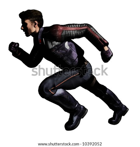Digital Painting Illustration of a Modern or Future man running under heavy shadows. Based on an original render by the artist. - stock photo