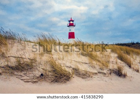 Digital painting - Lighthouse at List - Sylt, Germany - stock photo