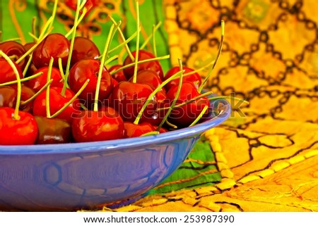 Digital painting of a bowl of ripe red cherries - stock photo