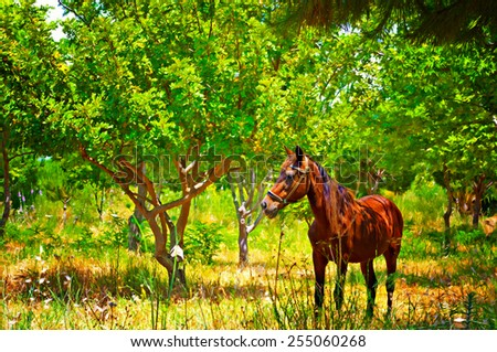 Digital painting of a chestnut horse out grazing in a field - stock photo