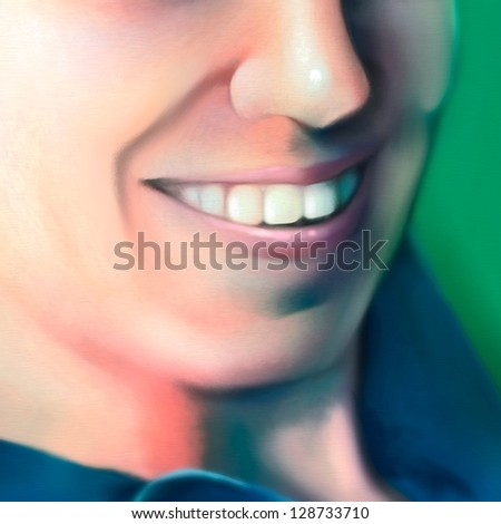 digital painting of a close up view of a smiling young woman - stock photo