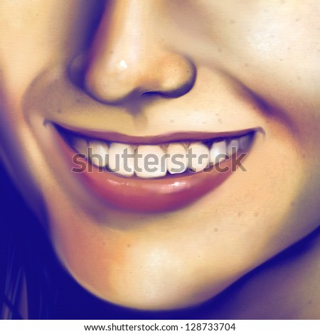 digital painting of a close up view of a young woman's smile - stock photo