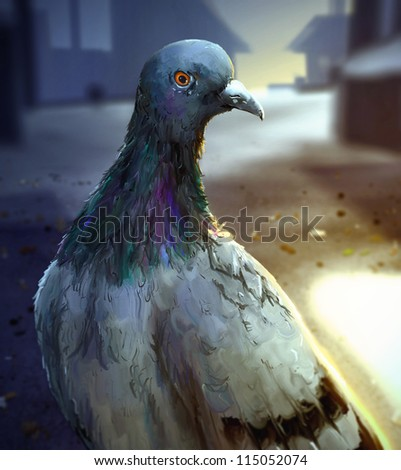 digital painting of a common pigeon standing in the sunlight in a urban setting