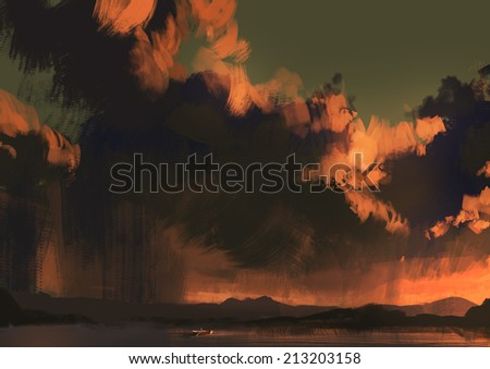 digital painting of a huge clouds lit orange  sunset - stock photo