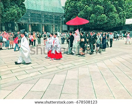 Digital painting japanese wedding procession priest stock digital painting of a japanese wedding procession with the priest leading and the bride and groom junglespirit Images