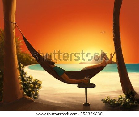 Digital painting of a man relaxing in a hammock on a tropical beach at sunset