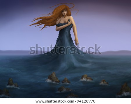 digital painting of a mermaid wearing the ocean as a dress - stock photo