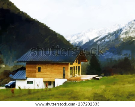 Digital painting of a newly built wooden chalet, Chamonix valley, Haute Savoie, France