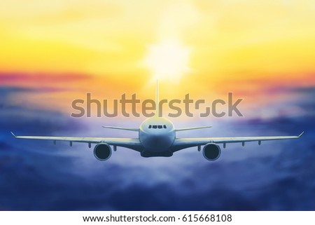 digital painting of a plane in the sunset
