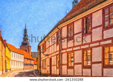 Digital painting of a street scene from the Swedish town of Ystad. - stock photo