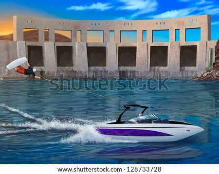 digital painting of a wake boarder doing an extreme superman while towed behind a speedboat - stock photo