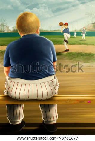 Digital painting of an overweight fat boy wearing an american baseball uniform sitting on a bench enviously watching other kids play baseball on a baseball field outside. - stock photo