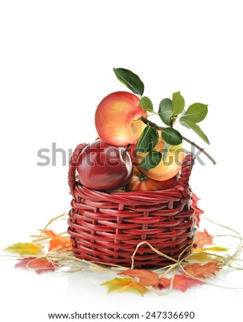 Digital Painting Of Apples In A Basket  - stock photo