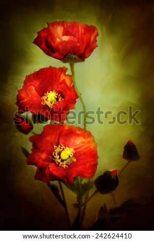 Digital painting of beautiful red poppies. - stock photo