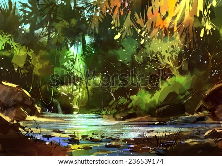 digital painting of beautiful river with cascades in forest - stock photo