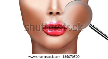 Digital painting of Beautiful young woman with perfect skin and magnifying glass check it isolated on white background, concept for skin care  - stock photo