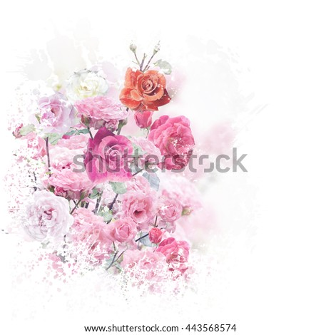 digital painting of  blossoming roses - stock photo