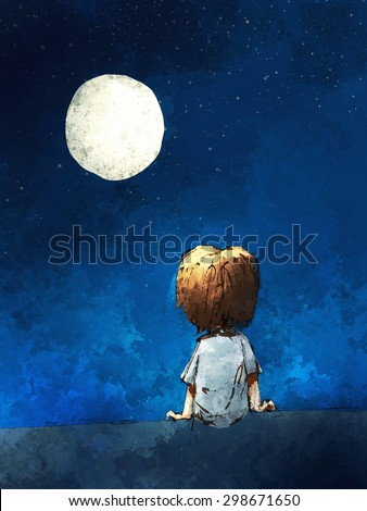 digital painting of  boy sitting lonely in the moonlight, watercolor on paper texture - stock photo
