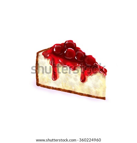 Digital painting of cheesecake with cherry and syrup