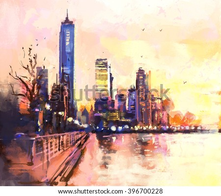 Digital painting of  city with skyscraper and ocean at sunset. Rastr stock llustration - stock photo