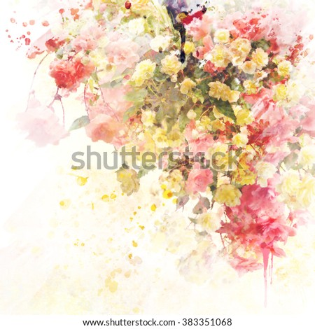Digital Painting of  Floral Background - stock photo