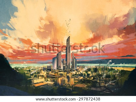 digital painting of futuristic sci-fi city with skyscraper at sunset ,illustration - stock photo