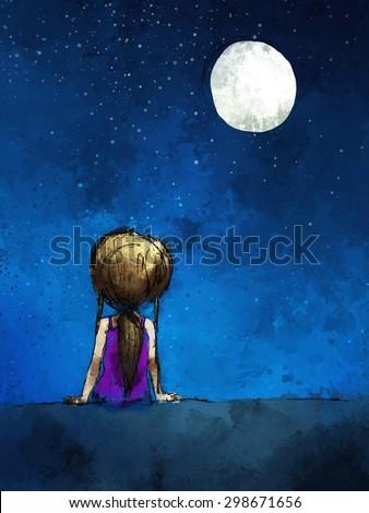 Digital Painting Girl Sitting Lonely Moonlight Stock Illustration
