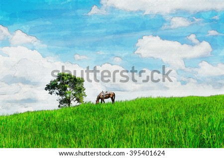 digital painting of green pasture with horse and tree in clear day - stock photo