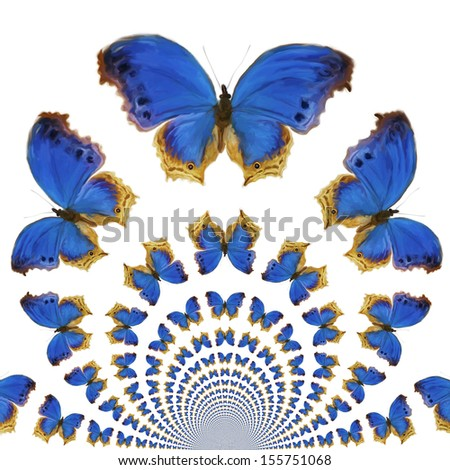 Digital Painting of kaleidoscopic Butterflies - stock photo