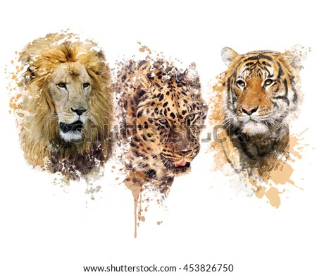 Digital painting of Lion ,Leopard and Tiger portraits - stock photo