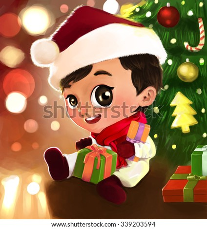 Digital Painting of Little Boy dressed as Santa Claus sitting under the Christmas tree which was decorated beautifully. - stock photo