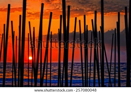 Digital painting of looking through beach umbrella poles at sunset - stock photo