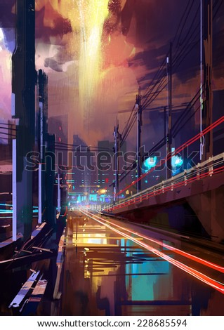 digital painting of modern city street at night - stock photo