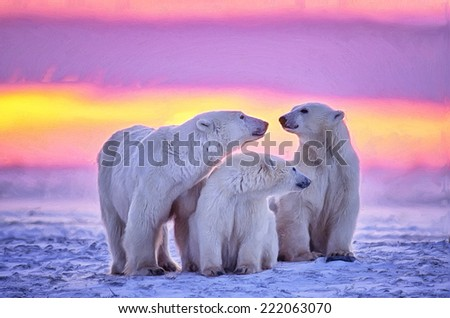 Digital painting of polar bear family at sunset - stock photo