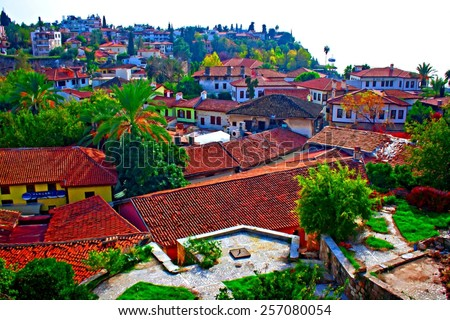Digital painting of rooftops in Kaleici, Antalya, Turkey - stock photo